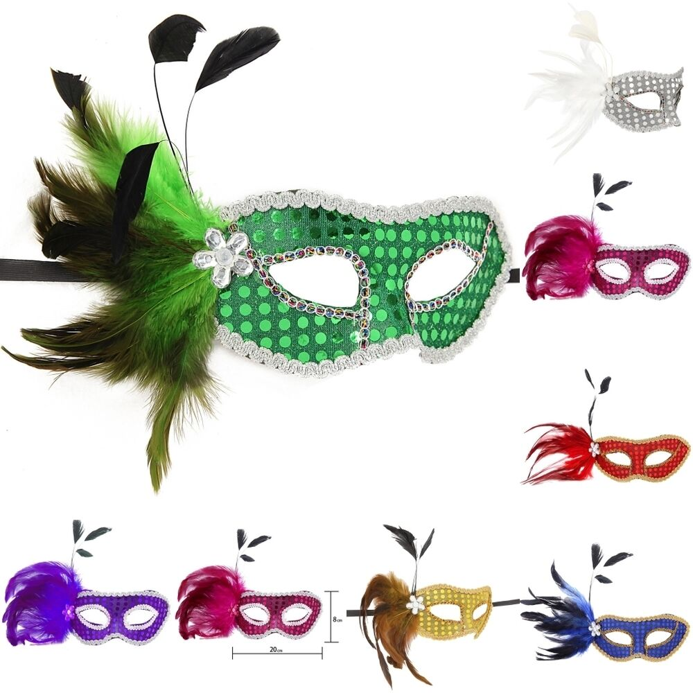 Masquerade Ball Wedding Ideas: Mardi Gras Feather Sequin Masquerade Ball Masks Lot