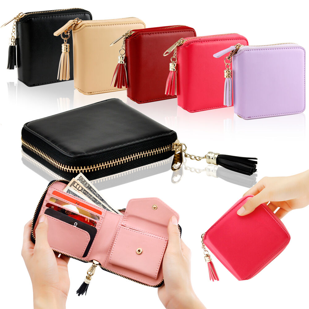 Womens Leather Small Mini Wallet Card Holder Zip Coin ...