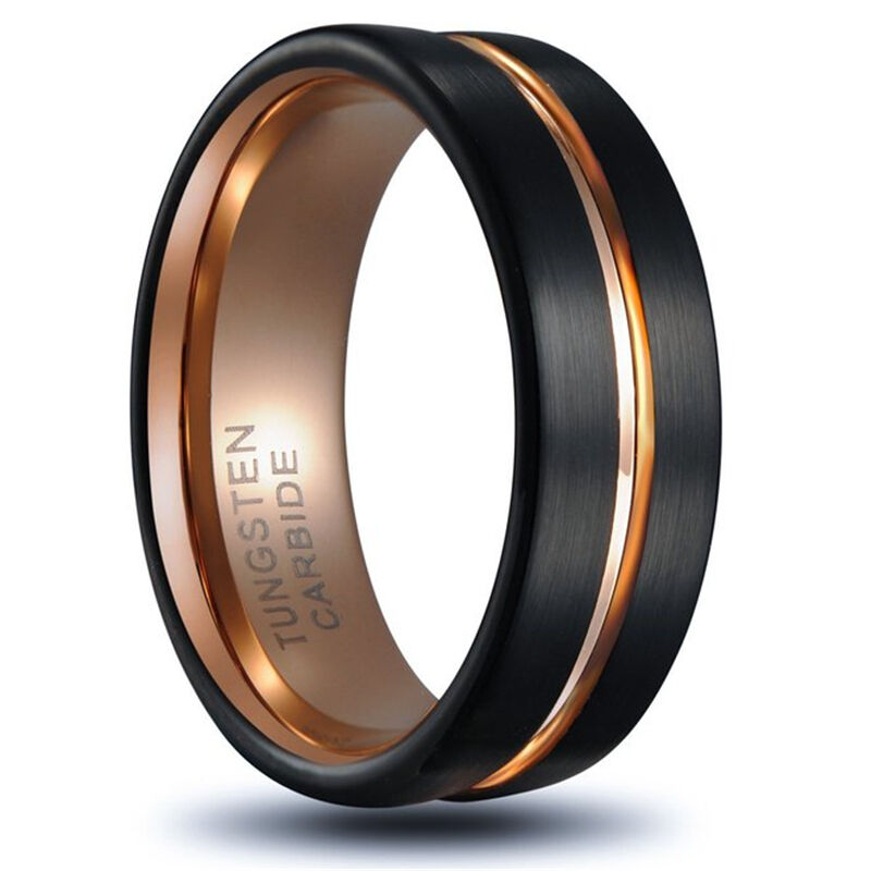 8mm rose gold tungsten carbide ring men 39 s wedding. Black Bedroom Furniture Sets. Home Design Ideas