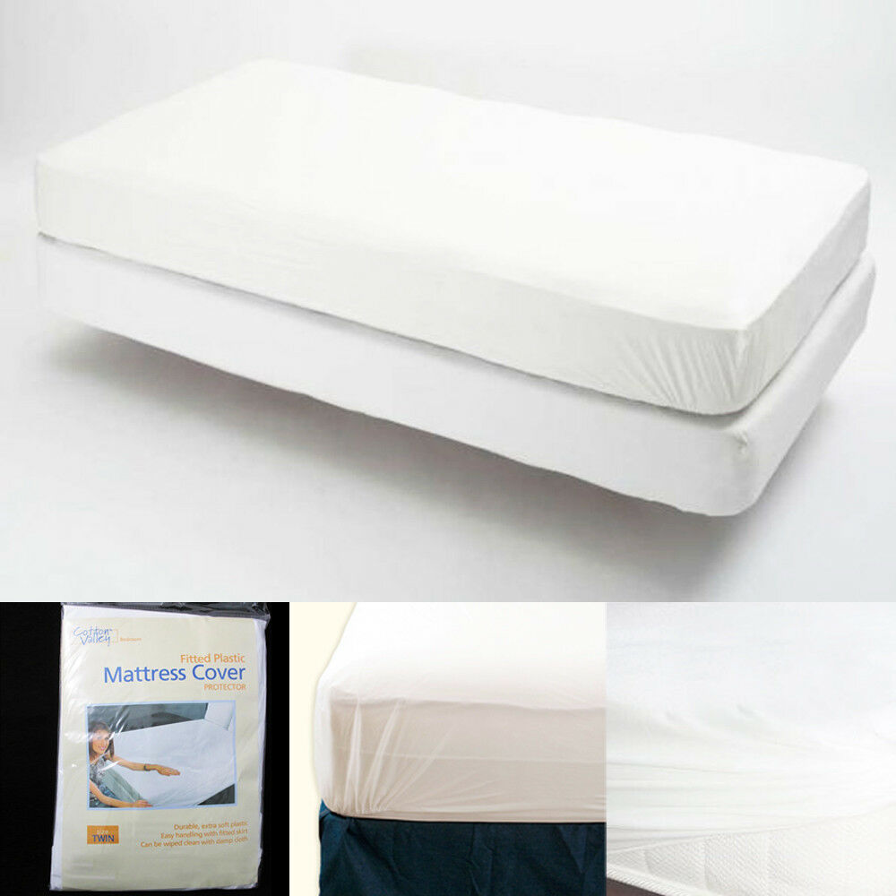 Twin Size Fitted Mattress Cover Vinyl Waterproof Allergy Dust Bug Protector New Ebay