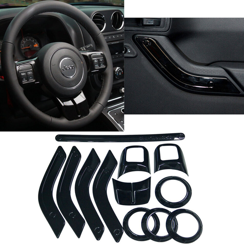 12pcs full set interior decoration trim kit fits for jeep wrangler jk 2011 2016 ebay. Black Bedroom Furniture Sets. Home Design Ideas