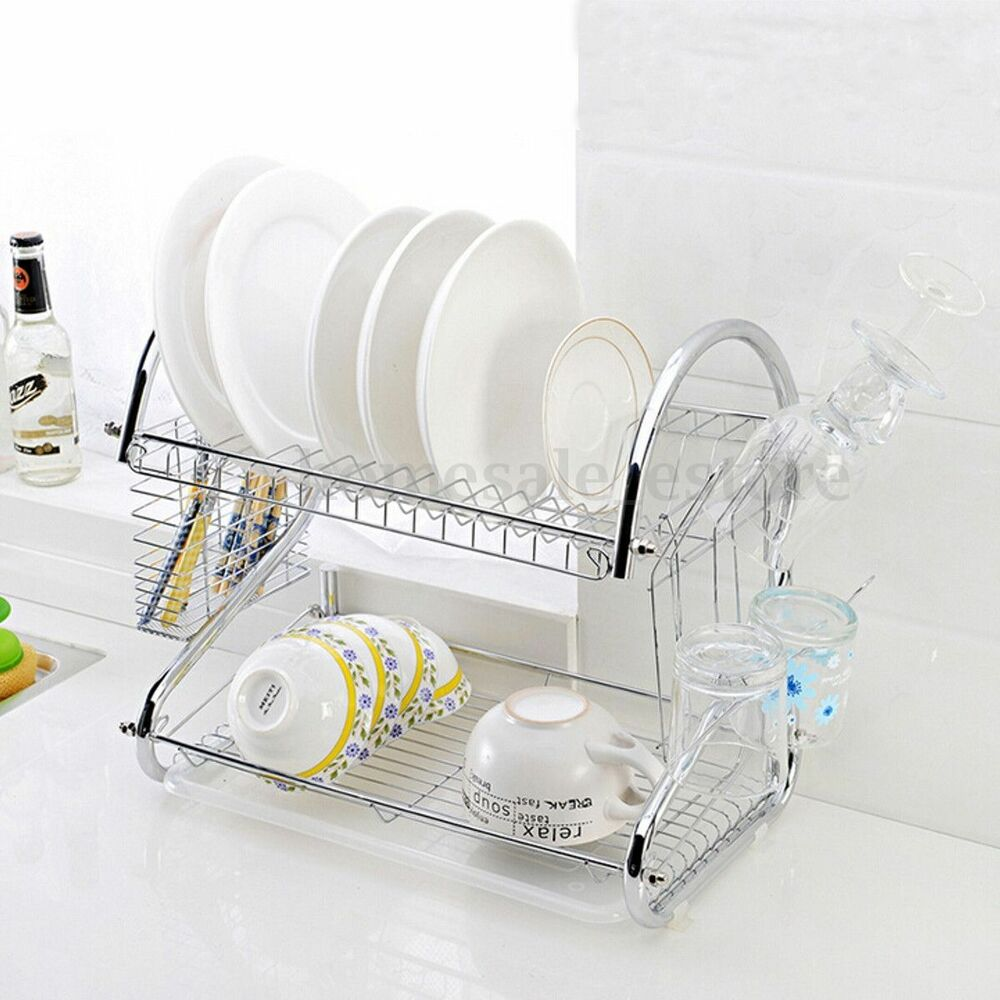 2 tier stainless steel plate dish rack drainer drying rack space saver ebay. Black Bedroom Furniture Sets. Home Design Ideas