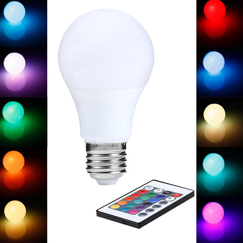 led lampe e27 farbwechsel gl hbirne rgb lichterkette 15w dimmable remote control ebay. Black Bedroom Furniture Sets. Home Design Ideas