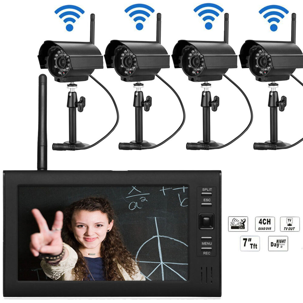 wireless security camera system 4ch ir night vision. Black Bedroom Furniture Sets. Home Design Ideas