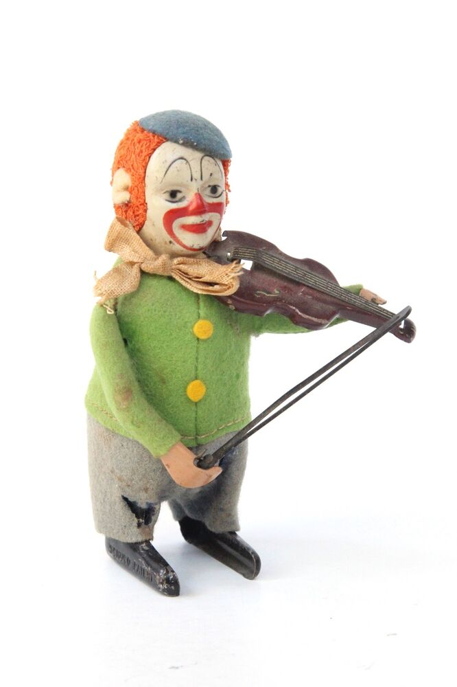 Toy Violins For 3 And Up : Schuco tin wind up toy clown with violin made in germany