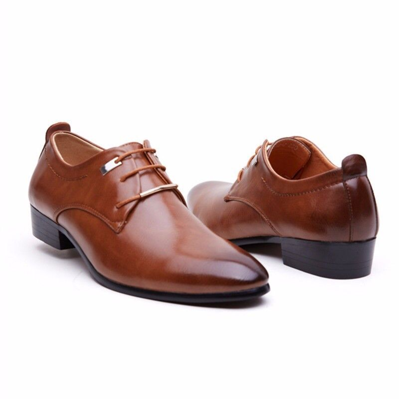 new mens wedding dress pointed oxfords leather shoes