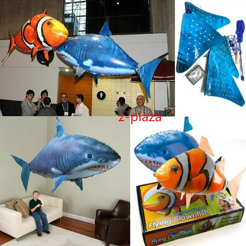 Air swimmer remote control rc flying inflatable fish shark for Flying fish balloon