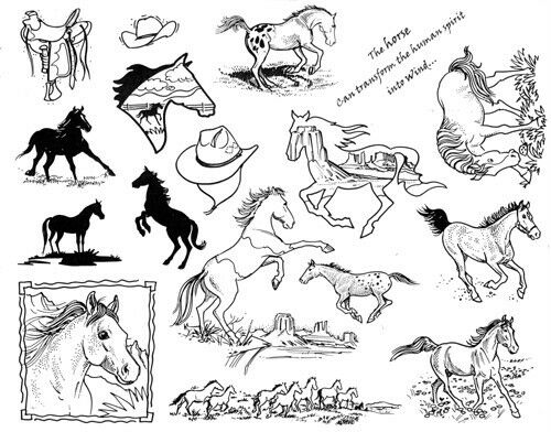 Unmounted Rubber Stamp Sheets Horse Stamps Horses