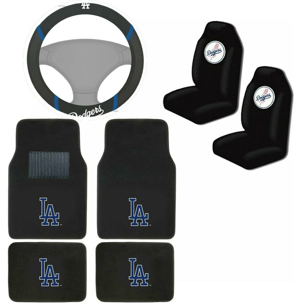 mlb los angeles la dodgers car truck seat covers floor mats steering wheel cover ebay. Black Bedroom Furniture Sets. Home Design Ideas