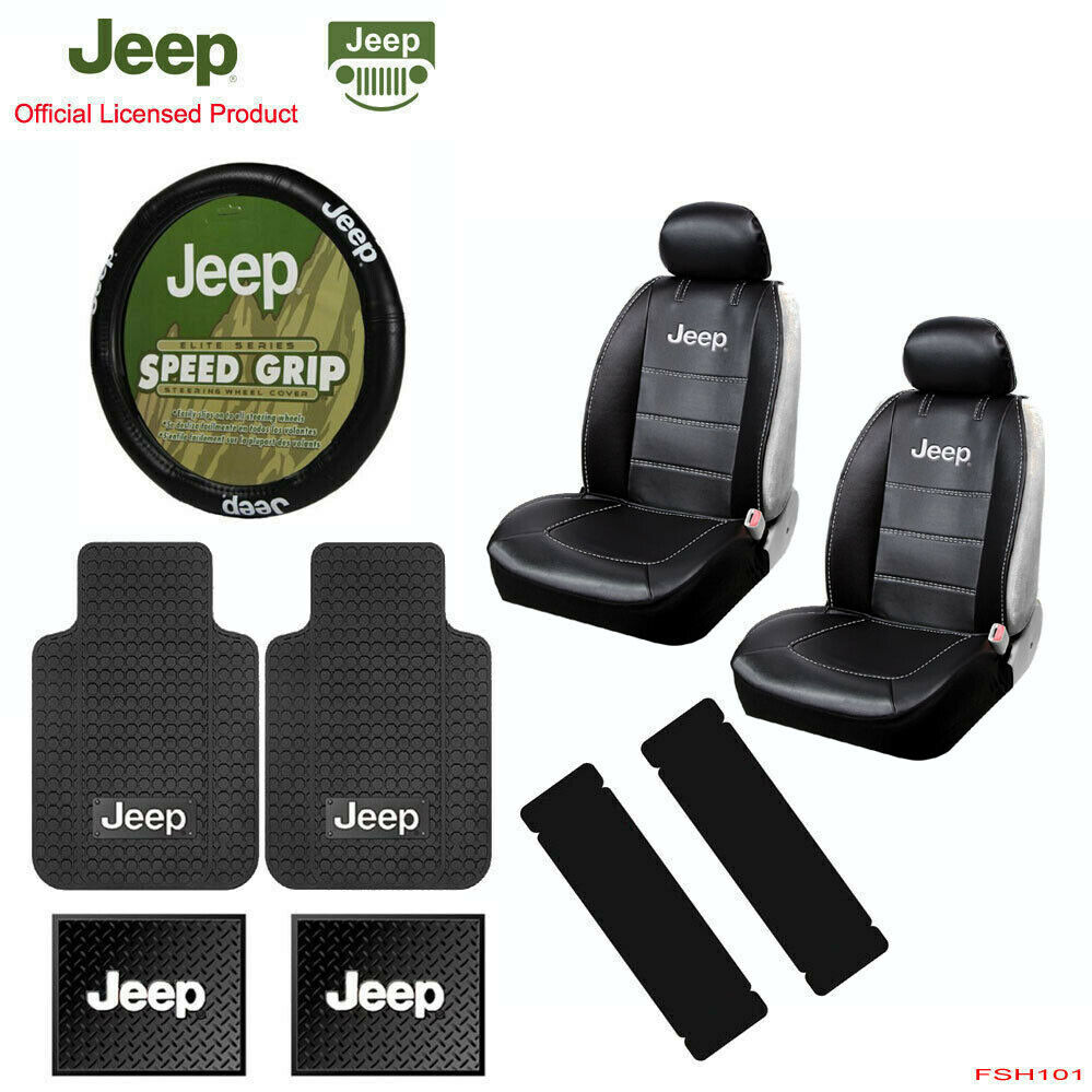 New 11pc JEEP Factory Logo Car Truck Seat Covers Floor