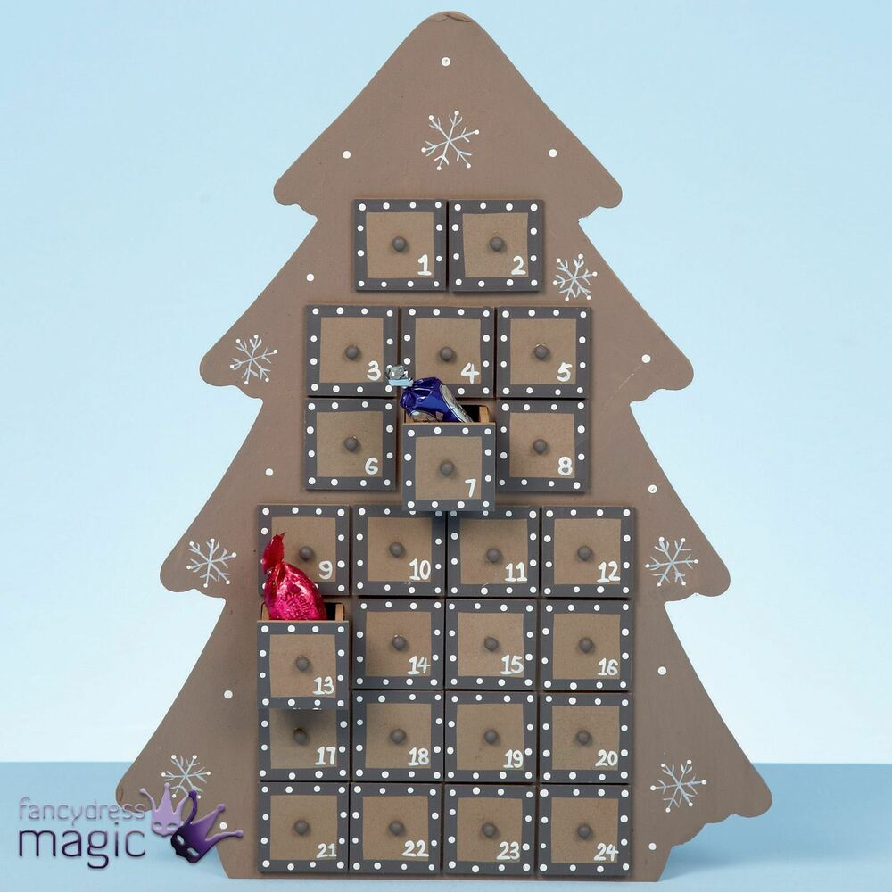 37cm large wooden christmas tree advent calendar nordic for Advent calendar decoration