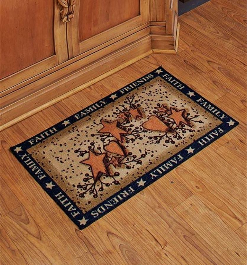 Charming Country Kitchen Faith Family Friends Hearts Stars Floor Mat Rug Decor Ebay