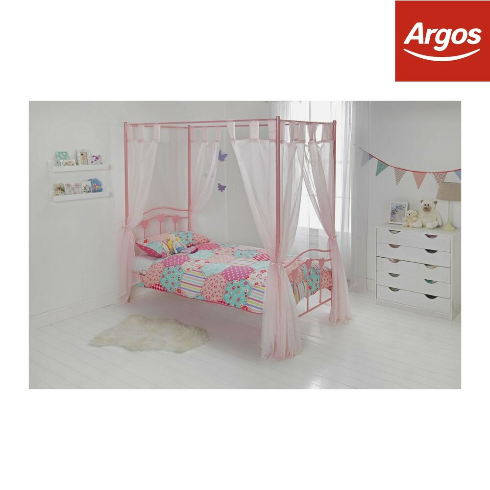 Home Hearts Single Four Poster Bed Frame Pink Ebay