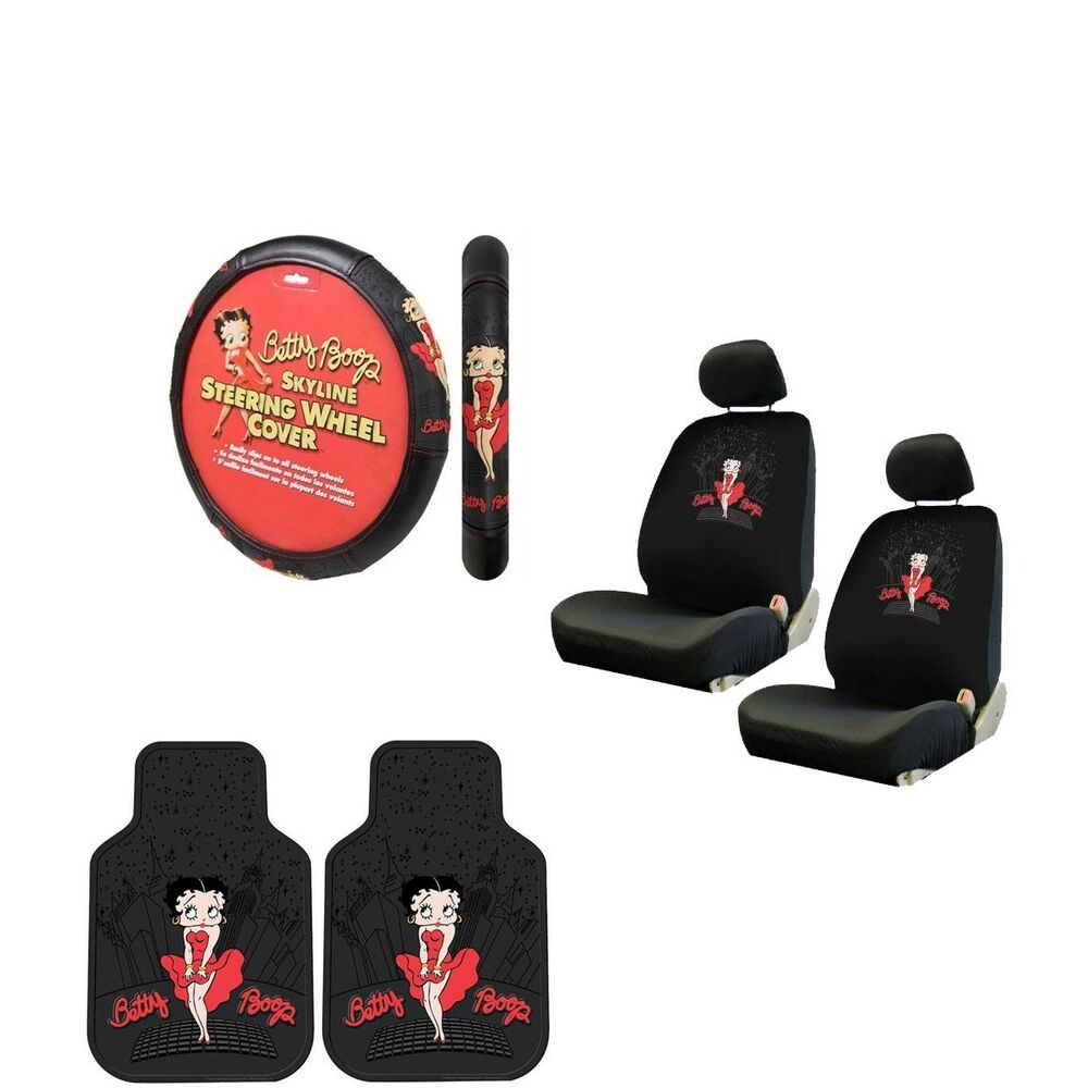7pc betty boop red dress skyline seat covers steering wheel cover floor mats set ebay. Black Bedroom Furniture Sets. Home Design Ideas