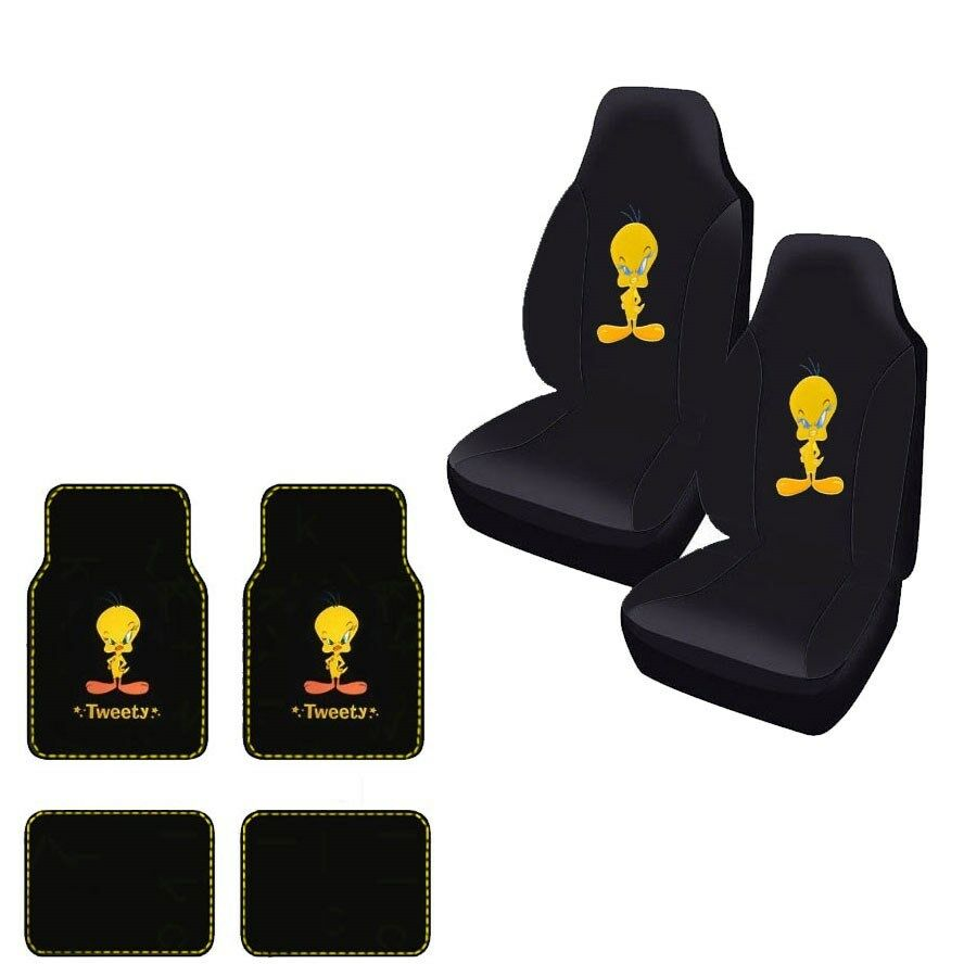 new 6pc set cartoon looney tunes tweety bird seat covers carpet floor mats ebay. Black Bedroom Furniture Sets. Home Design Ideas