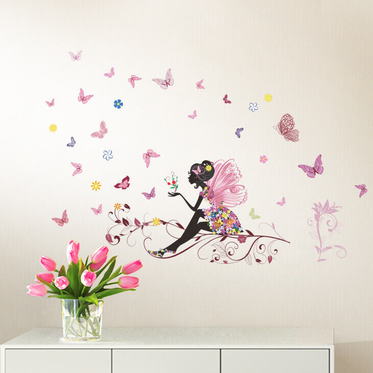 wandtattoo wandsticker wandaufkleber kinderzimmer fee schmetterlinge baby w3323 ebay. Black Bedroom Furniture Sets. Home Design Ideas