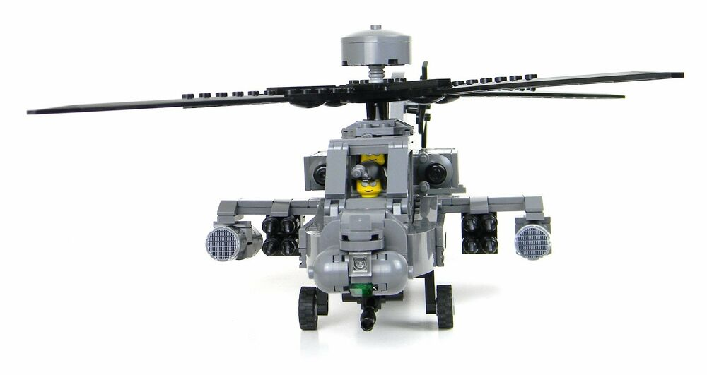 Custom Apache Helicopter Military Ah 64 Longbow Made With Real Lego