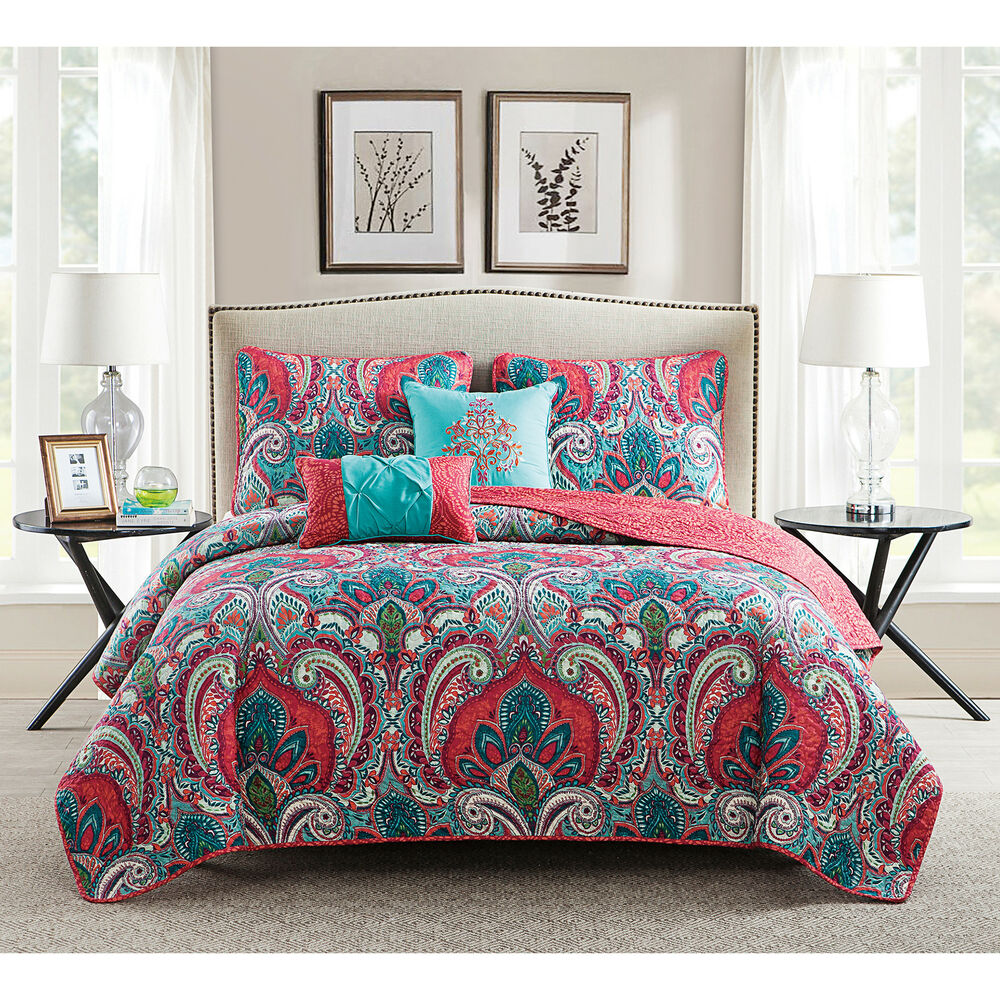 Vcny Casa Re Al Pink And Turquoise Reversible Quilt Set Ebay