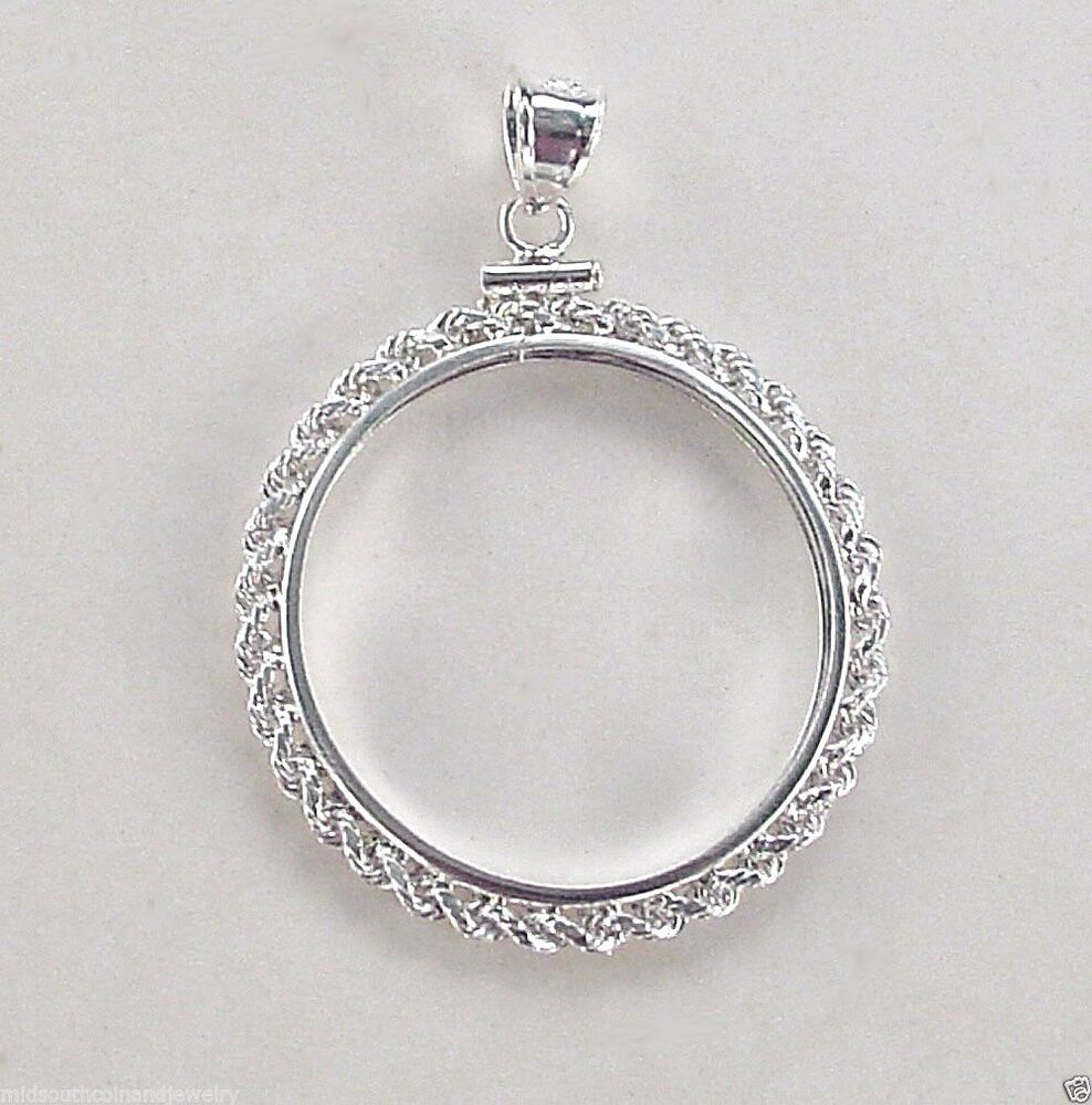 Coin Bezel Sacagawea Dollar Rope Frame Sterling Silver