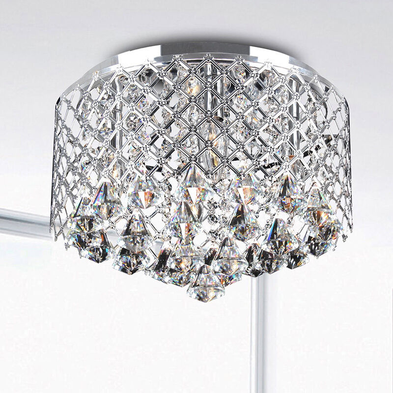 Nerisa Chrome Crystal Flush Mount Chandelier Ebay