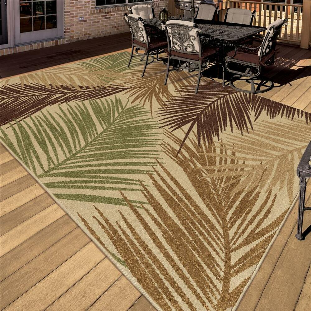 "8x10 Indoor Outdoor Area Rugs: 8x11 (7'8"" X 10'10"") Tropical Coastal Island Beach Palm"