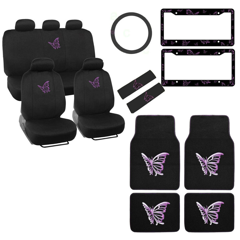 New Full Set Purple Butterfly Car Front Rear Seat Covers