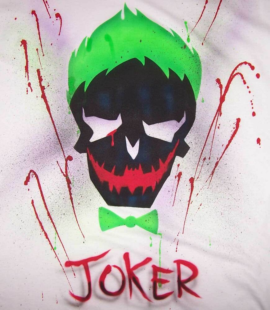 Suicide Squad Airbrushed Joker Skull T-Shirt and Blood ...