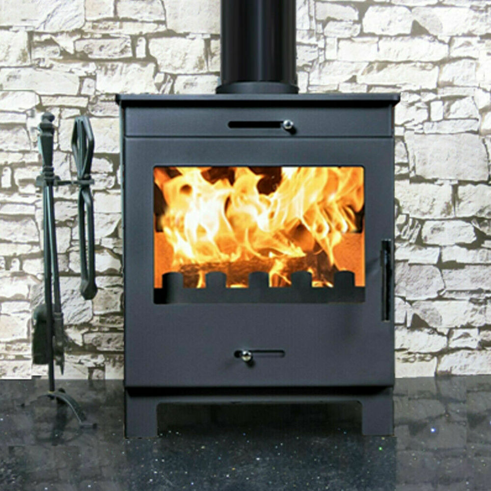 Nero Grey 5kw Wood Burning Multi Fuel Burner Log Fire Modern Stoves