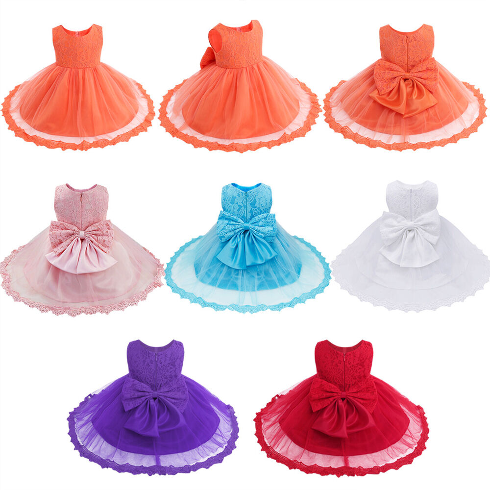 23c597b4d856 Flower Girls Princess Bow Dress Toddler Baby Wedding Party Pageant ...
