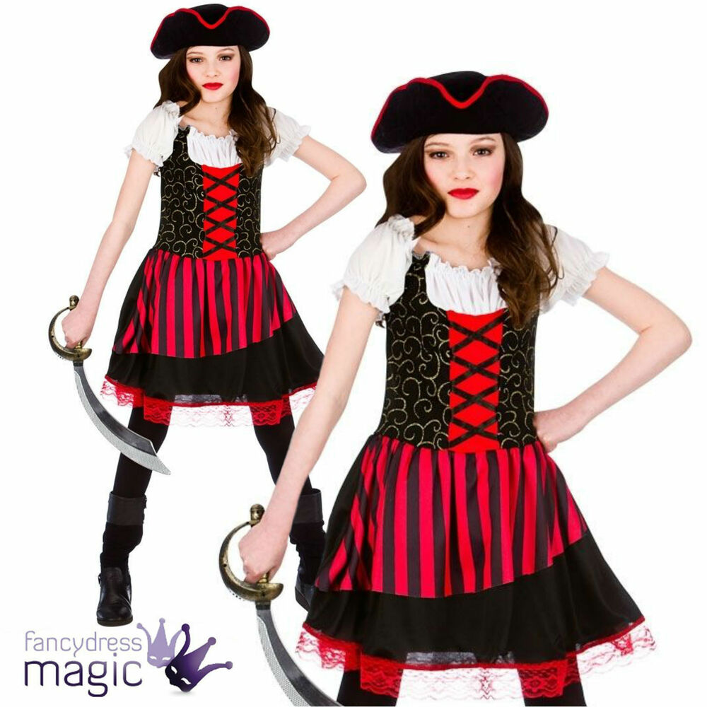 m dchen kinder h bsche piraten m dchen prinzessin karibik halloween kost m ebay. Black Bedroom Furniture Sets. Home Design Ideas