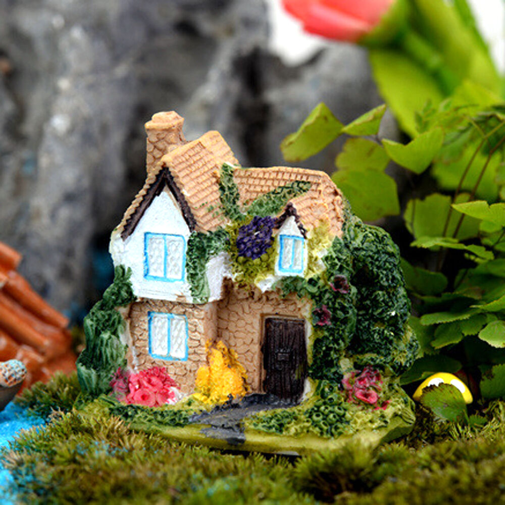diy mini fairy garden miniature resin thatched house
