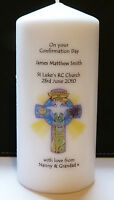 personalised confirmation day candle cross design gift for boy or girl