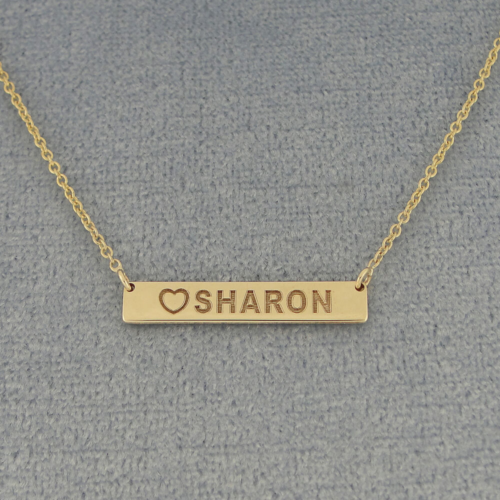14k yellow gold engraved any name heart 7 8 tiny. Black Bedroom Furniture Sets. Home Design Ideas