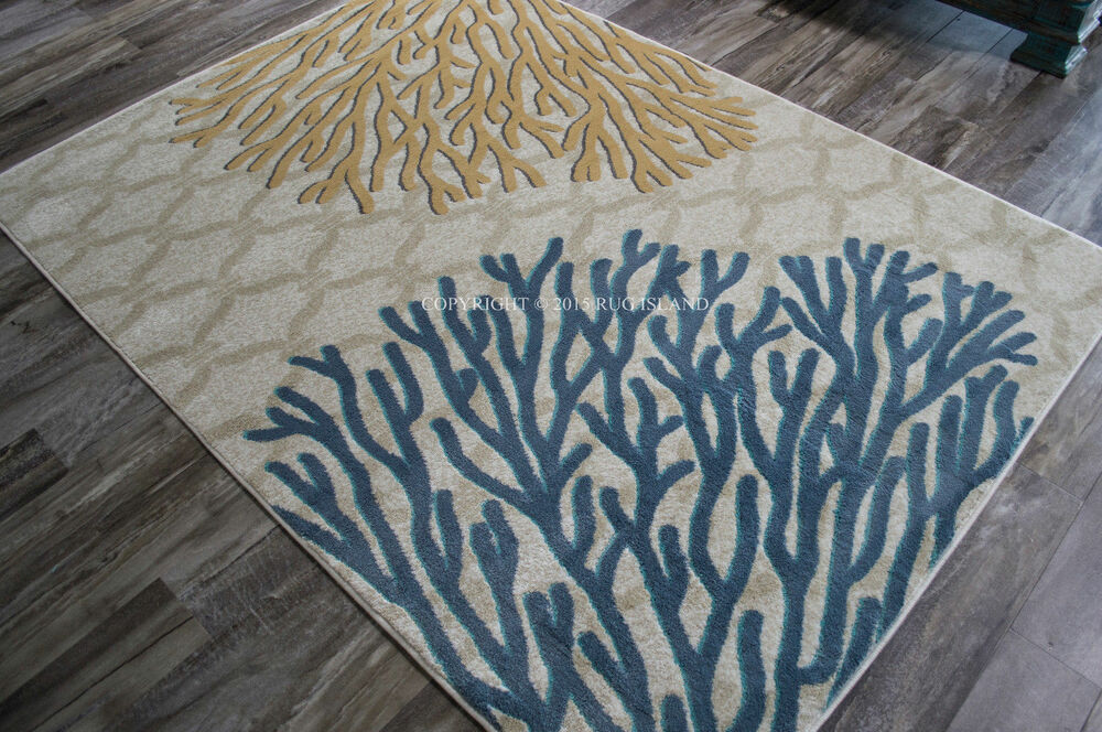 Tropical Coastal Beach Ocean Sea Coral Area Rug Ebay