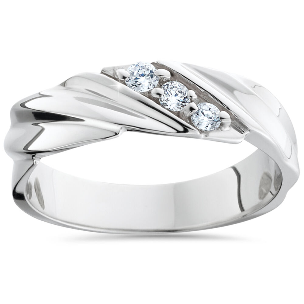 Mens Diamond Wedding Ring 3-Stone 14K White Gold High