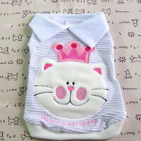 Dog&Cat Clothes Crowned Cat Embroidered Polo Shirts_A307 White,sz XXL