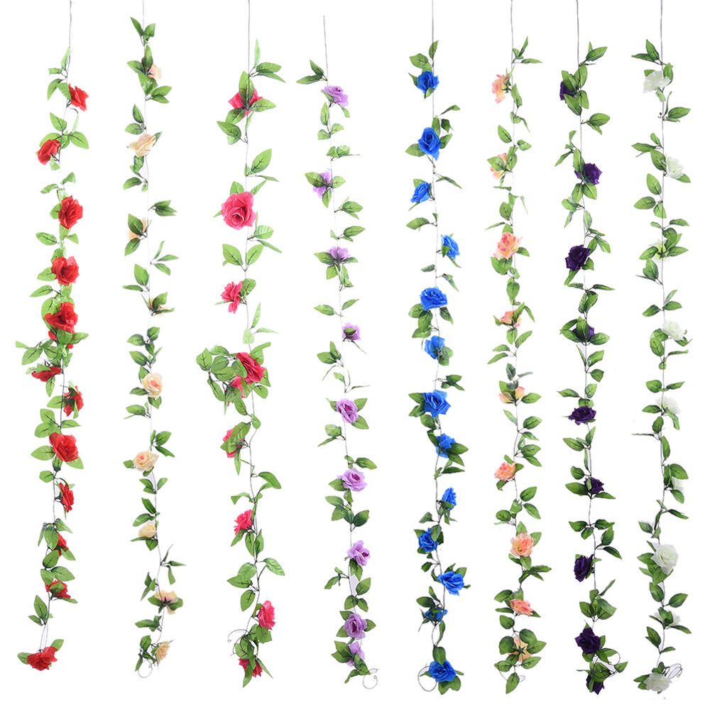 New Artificial Fake Silk Rose Flower Ivy Vine Hanging