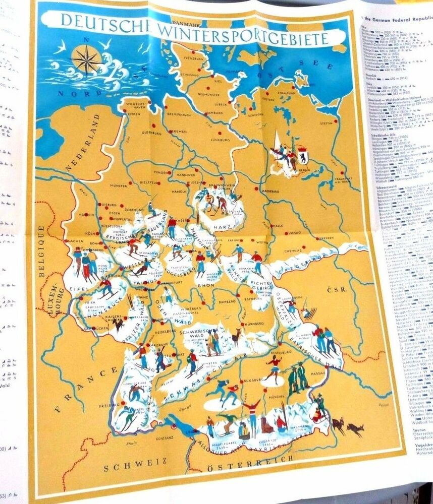 Cartoon Map Of Germany.Vintage Cartoon Map Germany Winter Ski Resorts By Leo Faller
