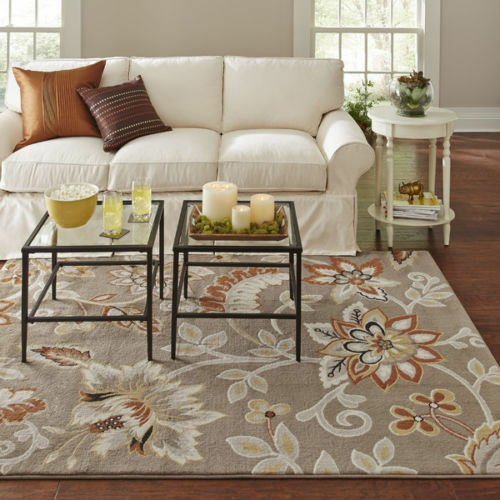 Transitional Modern Contemporary Floral Taupe Gray Area