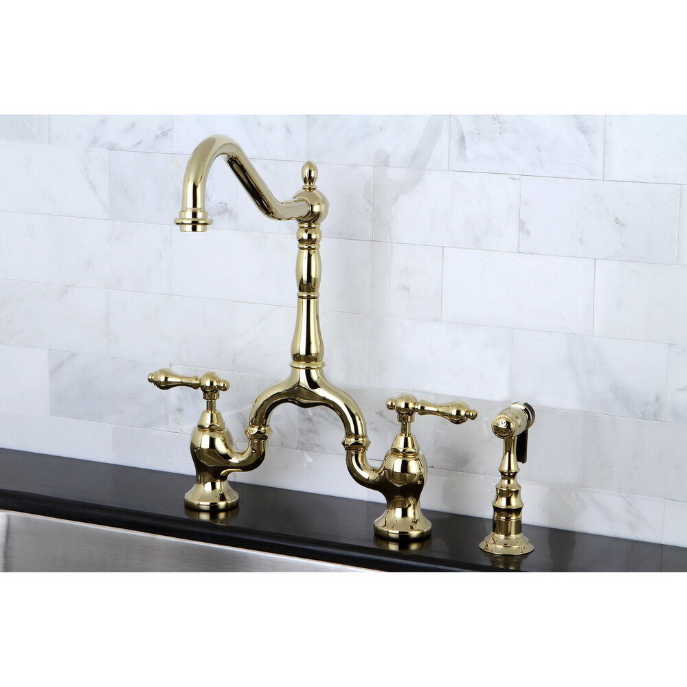 Aqueous Faucet Ballymore Victorian Double Handle Widespread Bathroom Faucet Reviews: Victorian High Spout Polished Brass Bridge Double-handle Kitchen Faucet