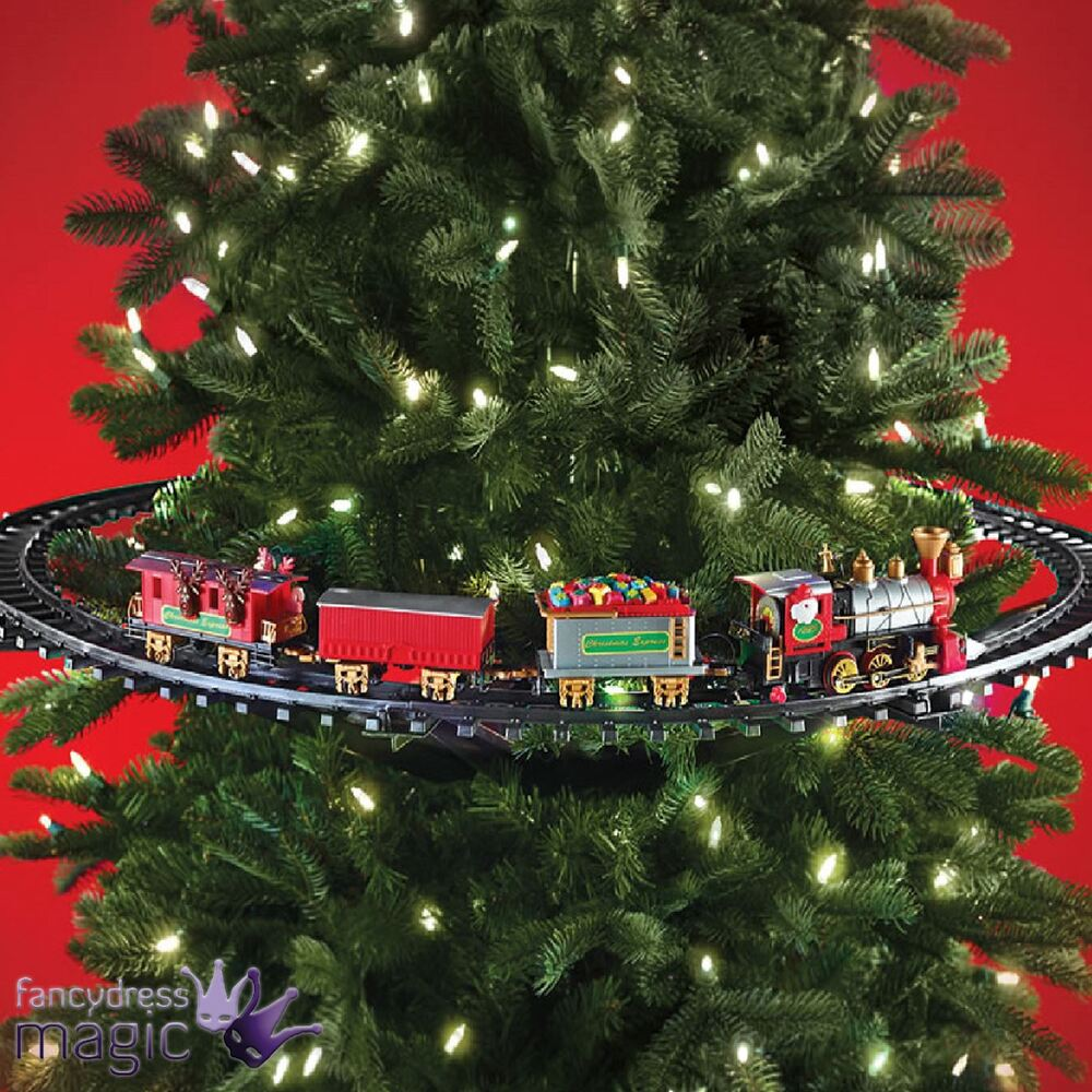 Mounted christmas tree train festive light up sound for Animated christmas decorations