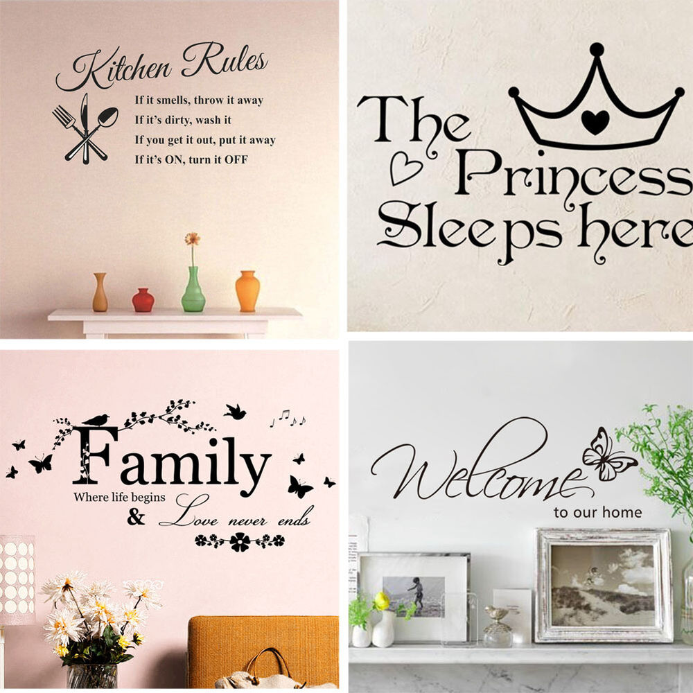 Family kitchen removable wall stickers decal art vinyl - Family room wall decor ...