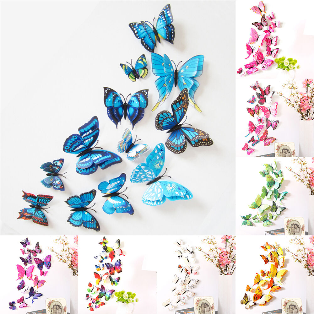 Butterfly Home Decor: 12pcs 3D PVC DIY Butterflies Butterfly Art Decal Home