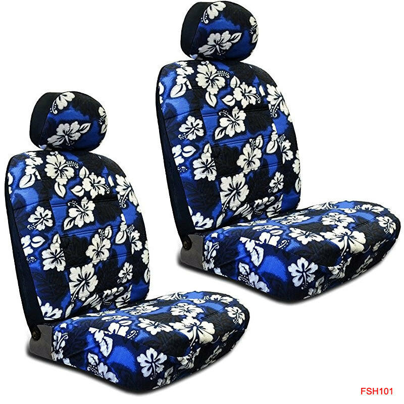 new blue hawaiian flowers hibiscus print car front low back bucket seat covers ebay. Black Bedroom Furniture Sets. Home Design Ideas