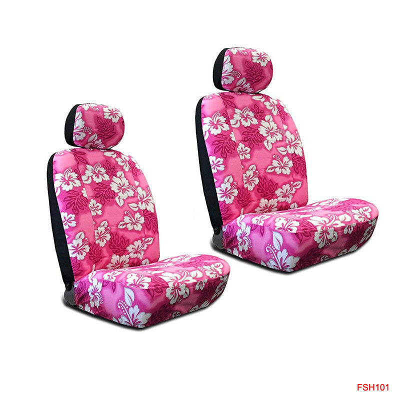 New Pink Hawaiian Flowers Hibiscus Print Car Front Low