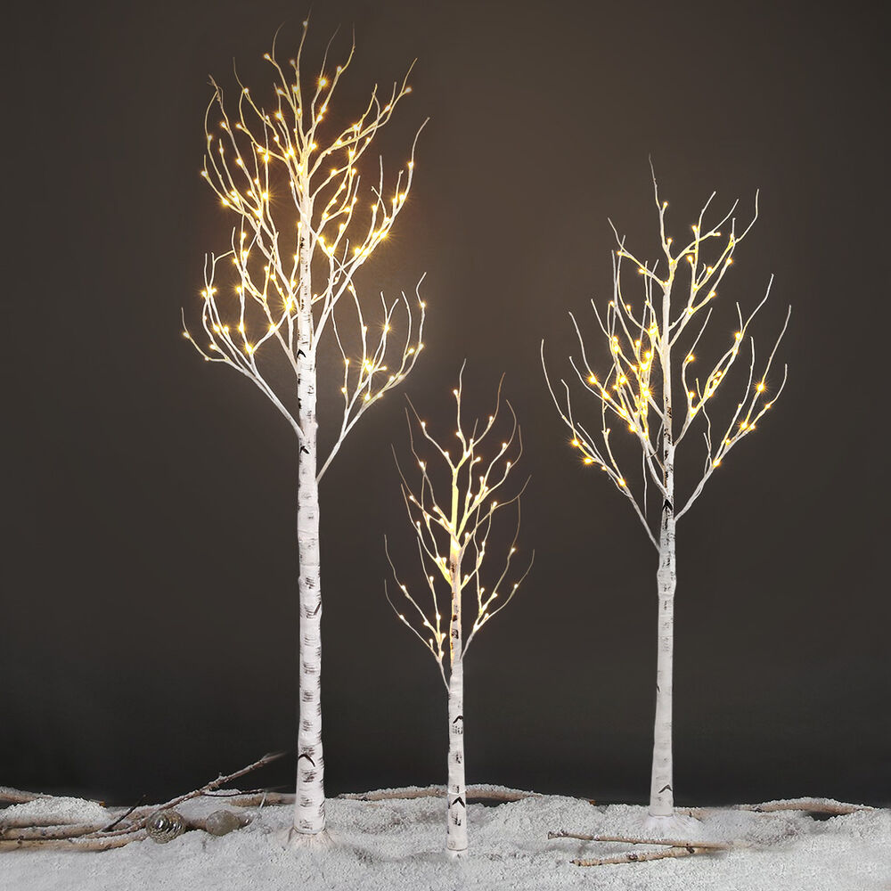 72 led silver birch twig tree light 1 5m 5ft warm white decorative