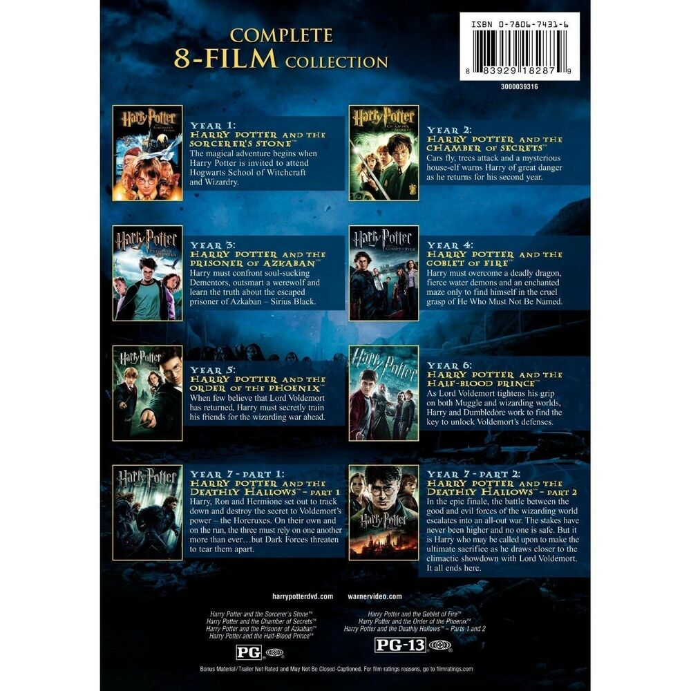 harry potter complete series movie collection 1 8 2 3 4 5 6 7 8 dvd disc box set 883929182879 ebay. Black Bedroom Furniture Sets. Home Design Ideas