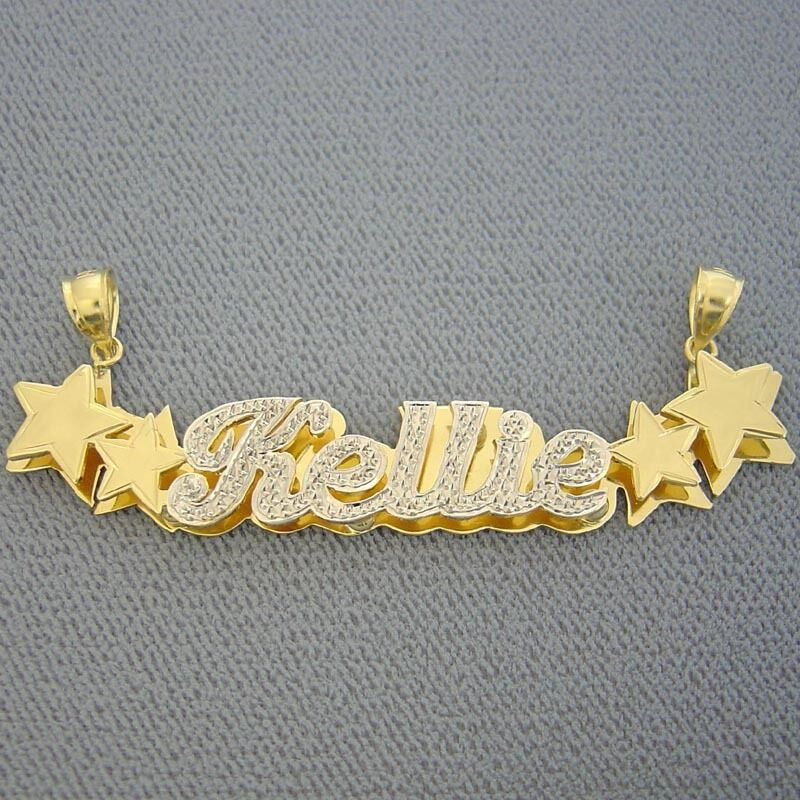 14k Gold Personalized 3d Double Stars Iced Out Name