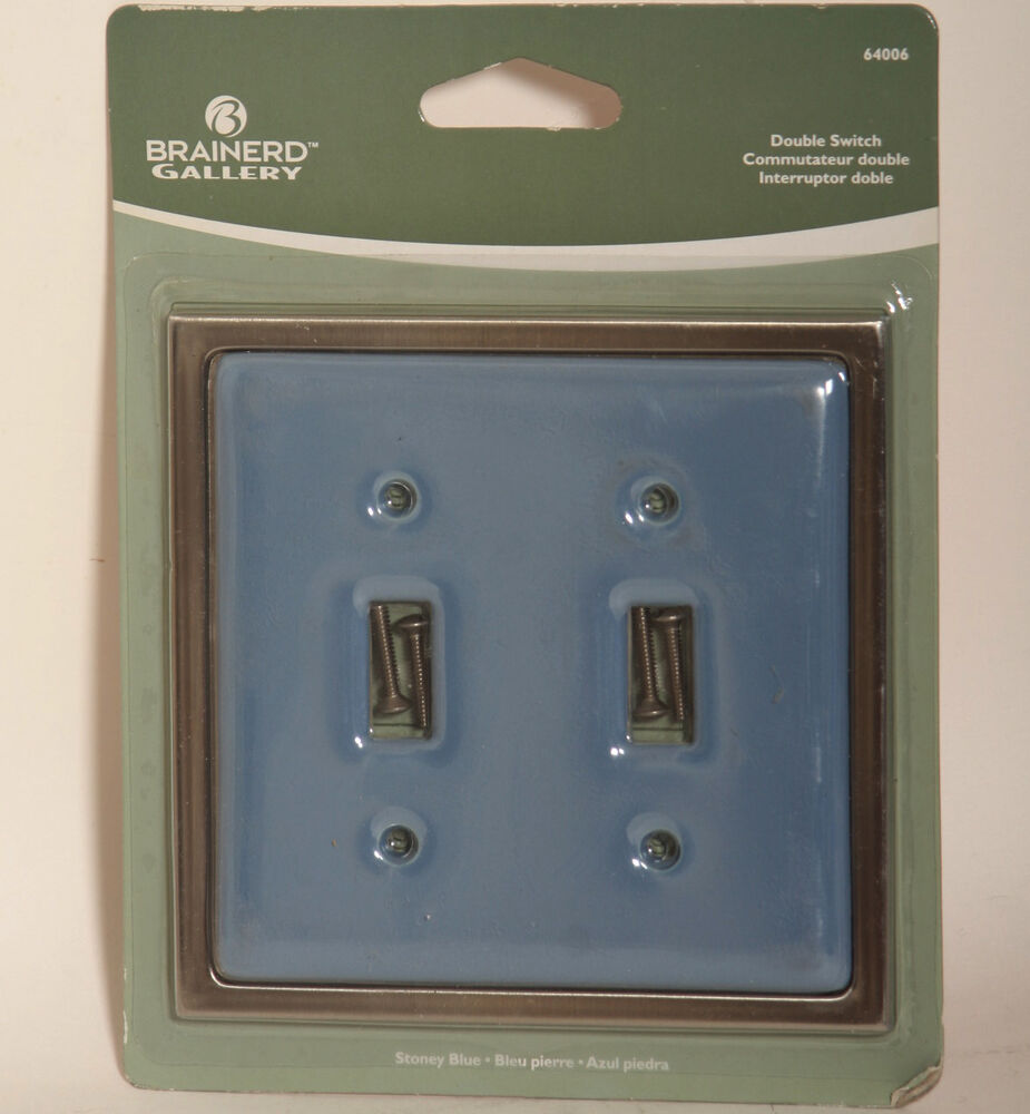 Contemporary Switched Wall Lights : Stoney Blue Ceramic Brushed Nickel Double Light Switch Wallplate Wall Plate eBay