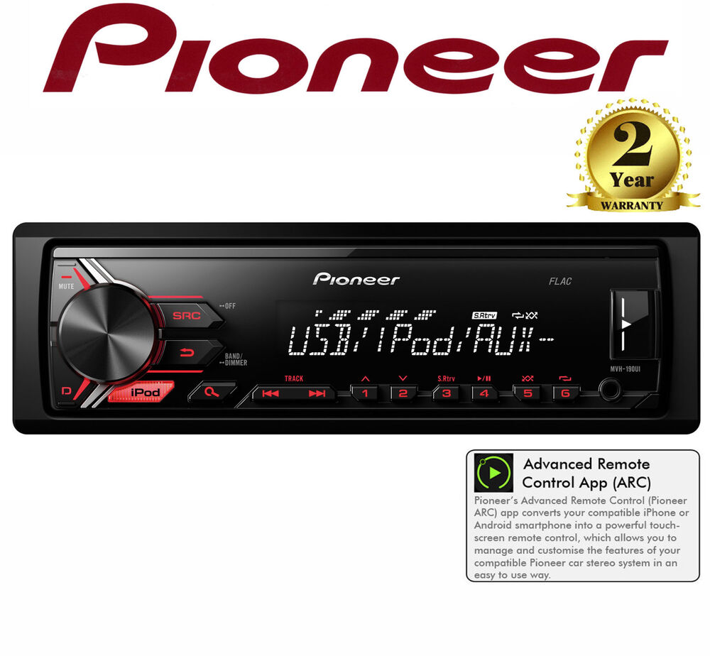 iphone car radio pioneer mvh 190ui mechless car stereo radio player usb aux 11701
